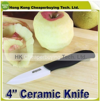 Top Quality Hotsale Bestlead 4'' Curve Handle Fruit Kinves Ceramic Knife Kitchen Knife ,#SKU0116