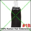 "100s 16""18""20""22""24"" Indian Remy Loop/Micro Ring Human hair Extension #1B Natural Black 40g50g60g70g"