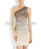 FREE EXPRESS HL Bandage Party Dress Women One-Shoulder Multi Color Knee-Length Sexy Costumes Mini Dress