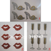 Free shipping Wholesale Crystal Mixed Color Four Design Rhinestone Sticker for DIY Decoration(6pcs/Lot) 022003028