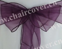 50pcs new ultra plum sparkle organza chair sashes wedding party banquet decoration