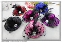 6 colors 3.9 inches Solid Felt Mini Top Hat Fascinator Base Party Hats, net yarn flower feather sexy party hairpins H9049
