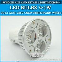 10pcs/lot High power led Bulb Lamp lights GU5.3 3W Warm White/Cold white AC85-265V Free Shipping