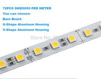 1000mm 72PCS/SMD5050 LED Rigid strip, Jewelry lighting,12V DC Non-waterproof, aluminum U/V shape housing optional