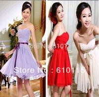 2014 Sweetheart Princess Bridemaid Dress Off Shoulder Strapless Purple Beige Red Ribbon Womens Evenin  A-line Dresses