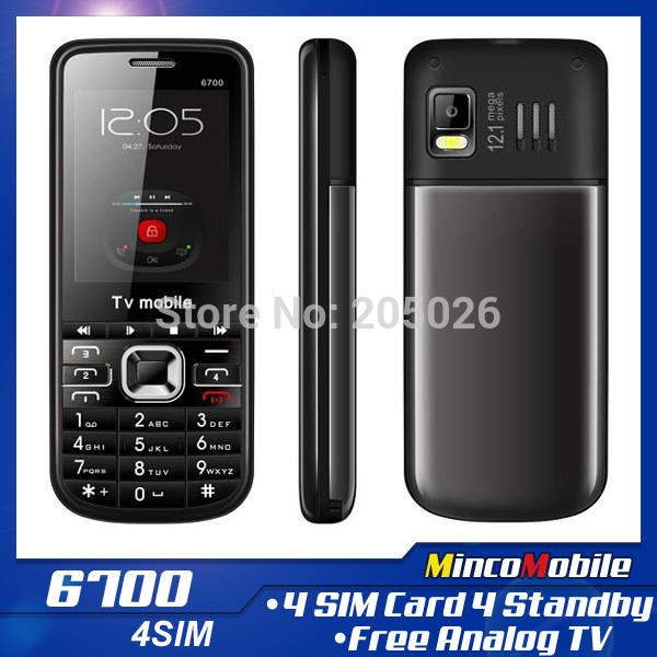 Sbloccato quad band 4 sim card telefonata 6.700 tv telefono con tastiera russo(quattro carte sim quattro standby)