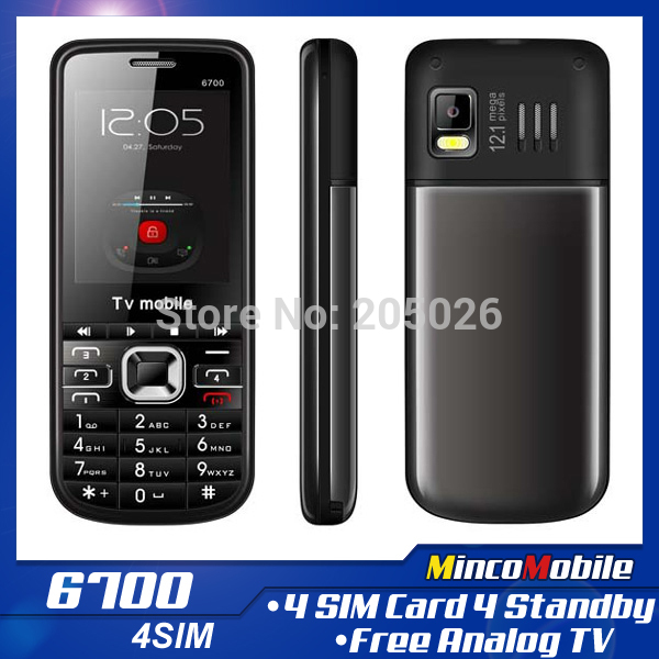 Unlocked Quad Band 4 SIM Card Call Phone 6700 TV Phone with Russian Keyboard ( Four SIM Cards Four Standby )(China (Mainland))