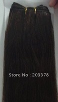 55cm 22inch Indian hair weft/weaving extensions 100% remy human silk straight Color #4 Brown