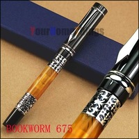 BOOKWORM 675 silver flower amber celluloid fountain pen