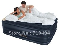 Free DHL Shipping INTEX 66715 queen size inflatable bed with built-in electric pump, INTEX three layers inflatable bed