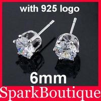 40pairs 6mm CZ Stud Earrings Zircon Stud Earrings 925 Sterling Silver Stud Earrings With 925 Logo Free Shipping F1
