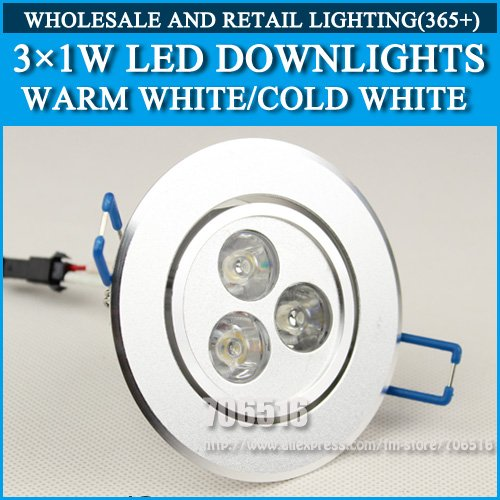 20PCS 3X1W led Downlights Warm white/cool white AC85-265V Free shipping/DHL(China (Mainland))