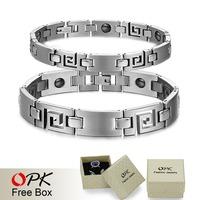 OPK JEWELRY BRACELET  Healing Stainless Steel Magnetic Bracelet Mosaic of 16 natural bio-magnetic Care bracelet 3108