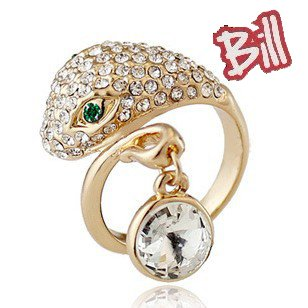 Wholesale Lots Free Shipping Wholesale Fashion 18K GP Snake Rhinestone rings Jewelry