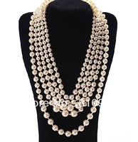 2013 fashion jewelry multi layers elegant chunky pearl necklace free shipping