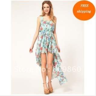 2012 A * O * nuevas señoras del estilo Flores Dovetail swing largo envío libre del vestido del chiffion asimétrica