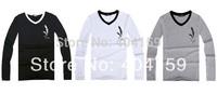 Wholesale White Full Sleeve V Neck High Quality spandex+lycra T shirts Printing