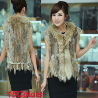 BG0624  Real  Genuine Rabbit Fur Gilet Women Wholesale Plus Size  Raccoon Dog Fur Vest  Winter Women Fur Vest