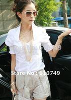 Free shipping New arrival Summer Korean fashion white T-shirt fashion shirt lady shirt women's shirt short-sleeved blouse