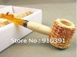FREE SHIPPING mini naturel corn cob tobacco pipe as healthy smoke cigarette filter,eco-friendly plant smoking set!(China (Mainland))