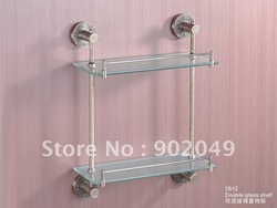 Chrome Plating Brass High Quality Eco-friendly Double Glass Shelf Bathroom enclosure Free Shipping KG-2612(China (Mainland))
