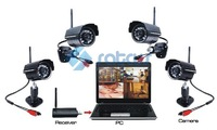Free Shipping 2.4Ghz Digital Wireless Security Kit, Night Vision Function.4 Wireless Cameras+1 USB Receiver