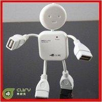 Wholesale! High Speed Little Human Shape robot 4 Port USB Hub Free Shipping 100pcs/lot