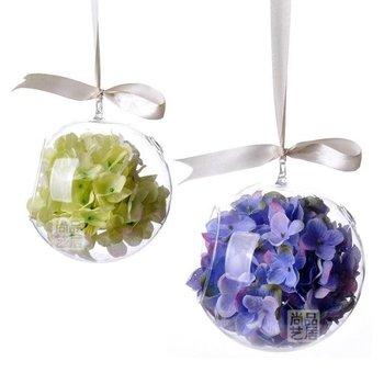 Nueva, tamaño grande, colgando florero de vidrio, Ball Drop techo, sistema entero, bola + la flor de seda + String + uñas, decoración de la boda, envío gratuito