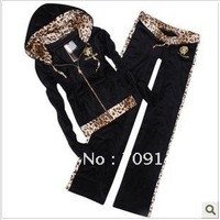 Free Shipping Wholesale Fashion Leopard Black velvet leisure suit women M L XL