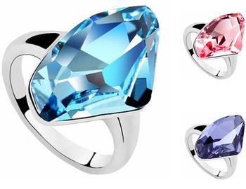 18K Gold Plated Beautiful Fashion Crystal Ring make with Swarovski Elements (2- ...