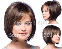 Beautiful Classic hair,Brown and Auburn lightspot Fashion hair,Lady wig,Short hair,,High-quality,Free shipping