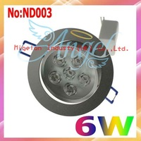 Wholesale gh power led downlight White 6W AC 90-265V LED Downlights Free shipping#ND003