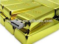 2013 new design hot  selling golden bar USB flash pendrive free shipping