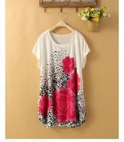 2014 New Style Fashion Printing Ice Silk Ladies dress S M L XL XXL XXXL 4xl 5xl free shipping women plus size dresses wholesale