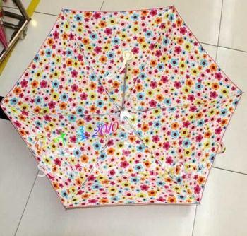wholesale  Pure and fresh and broken flower ultra light  pencil sun umbrella,3 folding umbrella