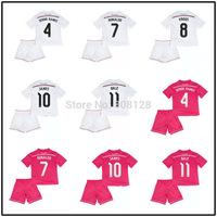 Kids 10 JAMES 8 KROOS 7 RONALDO 11 BALE 4 SERGIO RAMOS Real Madrid White Pink 14 15 Junior soccer jersey Youth Football Uniforms