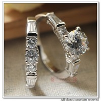 Women Wedding Rings Set Classic Jewelry, Alloy with White Gold Plated Ring Zirconia CZ Stone, Love anel anillos 2014, WR038