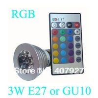 Best selling 3W E27 Remote Control LED Bulb Lamp 16 Color Spot Light + free shipping