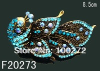 wholesale fashion hair Jewelry peacock crystal rhinestone alloy hair clip hair ornament  Free shipping 12pcs/lot  F20273