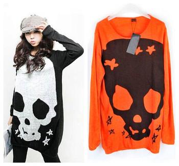 Хлопок blend Черный orange Длинный Рукав large Размер skull print Повседневный свитер ...