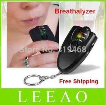 120pcs/lot RA LED Light  Flashlight Black Accurate Breath Alcohol Tester Breathalyzer Keychain Free Shipping