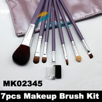 Factory Wholesale Price+20pcs/lot !NEW 7 pcs make up Cosmetic Brush Set with soft roll-up purple case wholesale M0087X
