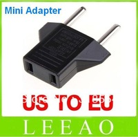 1000pcs/lot # Universal USA US to EU Euro Plug Power Converter Travel Charger Adapter Black Free Shipping