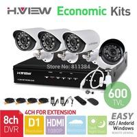 8CH CCTV System Full D1 HDMI DVR 4PCS 600TVL IR Outdoor Weatherproof CCTV Camera 24 LEDs Home Security System Surveillance Kits