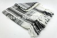 Free shipping white & Black  Drab Shemagh Military Tactical Keffiyeh Arab Scarf 100% Cotton Wrap NWT