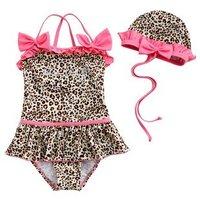 5 sets/lot beach wear baby one pieces bikini swimsuit girl swimwear Leopard grain bikini+ swim hat 2-8T