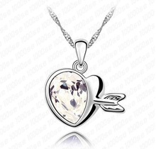 Free Shipping Mix Wholesale Charm Promotion Love of Cupid Crystal Necklace Fashion Engagement Jewelry