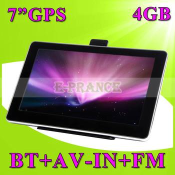 7 inch Car GPS Navigation Vehicle Navigator + 800*480 HD Screen+AV-in+Bluetooh+FM+4GB SD Card+Free Map+Russia/Turkish/Portuguese