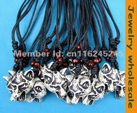 12pcs Imitation yak bone necklace wholesale wolf pendant  G-017