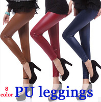 Fashion black matt imitation leather  leggings women pu  pants 8 color in stock Free shipping